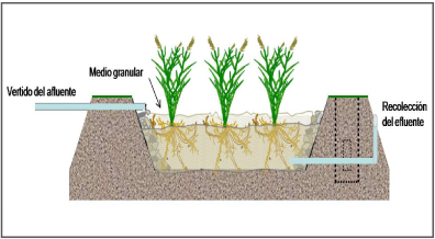 Humedal subsuperficial de flujo horizontal